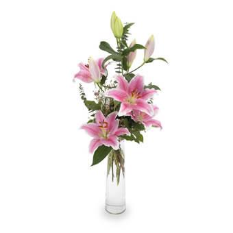 Hög bukett med rosa, ståtliga liljor. Du hittar blommorna hos Euroflorist.