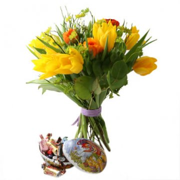 Påskbukett och påskägg med godis - beställ online hos Florister i Sverige