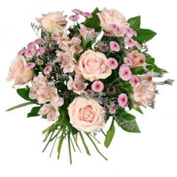 Bukett med blommor i rosa. Beställ ett blomsterbud hos Florister i Sverige och gör någon glad!