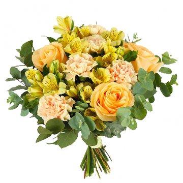 Bukett med aprikosa rosor och härliga snittblommor. Beställ blommorna hos Florister i Sverige - skicka med bud!