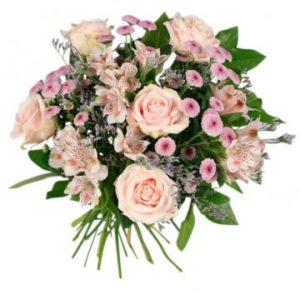 Ljuvlig bukett med blandade rosa blommor. Beställ online hos Florister i Sverige.