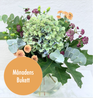 En fantastisk kombination av hortensia, astrantia, santini, hyperikum, eucalypthus och ekblad. Beställ blommorna hos Made4y.se - skicka med bud
