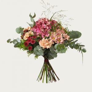 Interfloras septemberbukett med hortensia, santini och nejlika. Färgtoner: höstrosa, vinrött och aprikost. Beställ din blomstergåva i e-butiken.