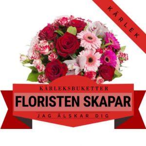 Välj en Floristen Skapar-bukett med blommor i kärlekens färger.