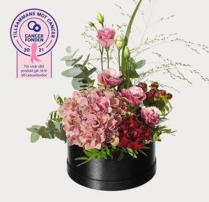 Rund blomsterdekoration med hortensia, prärieklocka, hypericum, nejlika, eukalyptus och grönt. Rosa färger. Ingår i Interfloras Rosa bandet-kampanj i samarbete med Cancerfonden.